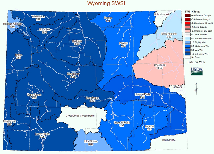 Wyoming Surface Water Supply Index - Click to Enlarge