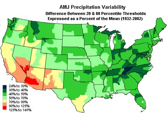 Wyoming Climate Atlas - Map of annual precipitation across us