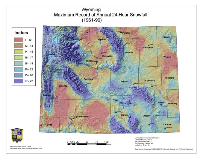 Wyoming Climate Atlas - Us annual snowfall map