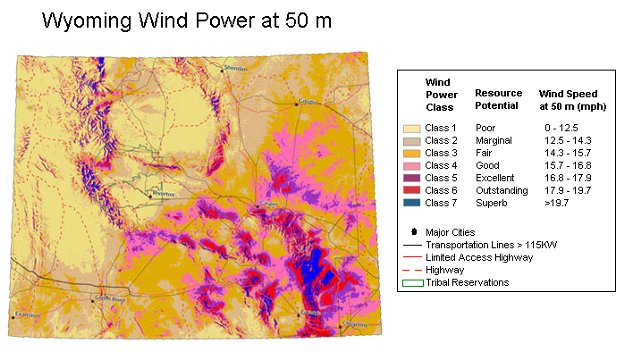 Modeled Wind Power Over Wyoming At 50 M Height Measured In Units Of Power Density Copyright 2002 Truewind Solutions Llc